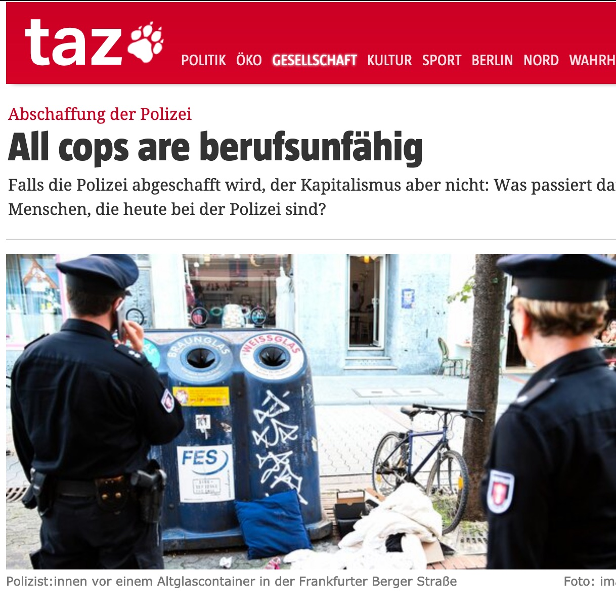 All cops are berufsunfähig Screenshot
