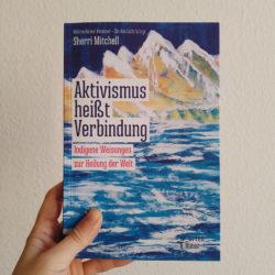 Cover Aktivismus heißt Verbindung, gehalten mit einem linken Hand. Titelseite mit geschneite Berge und große blaue Fluß im Vordergrund