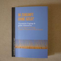 """auf hell braune Stoff liegt das Buch """"In Zukunft ohne Geld?"""". Der Cover ist helle grau blau, Buchtitel im goldbraun, unten ein Streifen mit Foto von goldbraune Strohfeld"""