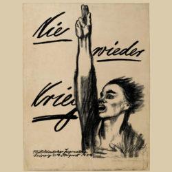 Käthe Kollwitz hell beige Hintergrund mit Tusche Nie wieder Krieg mitteldeutscher Jugendtag Leipzig 2.-4. August 1924 Kohlezeichnung von einer Person, rechte Arm erhoben mit Zeige- und Mittelfinger nach oben, linke Hand am Brust