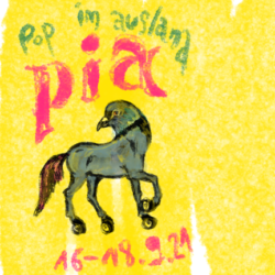 pop im ausland pia 16-18.9.21 yellow background with crayon, im the middle a creature with pigeon head and horse body in grey